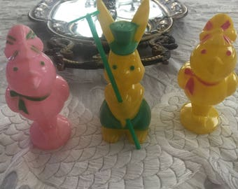 Trio of Vintage Plastic Easter Candy Containers Chicks and Bunny