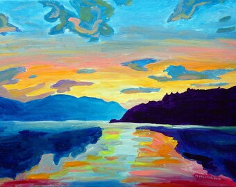 Art Print, Crossing Lake Okanagan, Colorful Canadian Lake and Sky Art