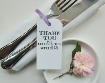wedding table cards thank you for celebrating with us wedding silverware ties elegant