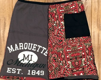 Marquette Mi upcycled skirt, Upcycled clothing, Women's upcycled clothing, recycled tshirt skirt, recycled repurposed upcycled, yooper skirt