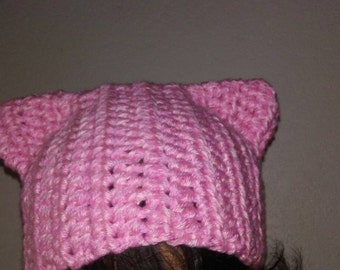 cat hat, crochet cat hat, Pink pussy hat,pussy hat,pussy hat project, kitty hat, cute kitty cat hat, pink kitty, pussy cat hat