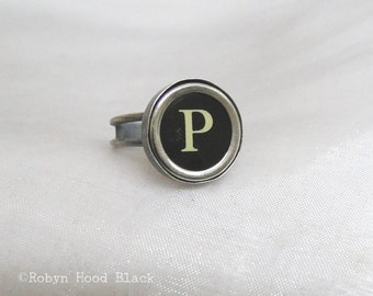 Typewriter Key Vintage Letter P Ring