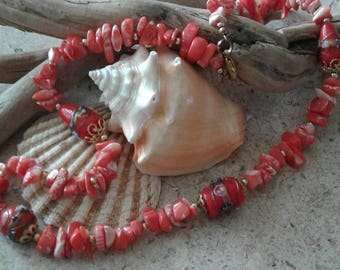Natural Coral & Lamp Work  Beaded Necklace