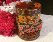 Beautiful Trio of Small Vintage Boxes, Tin and Cardboard, Small Orange Boxes, Flowers Floral, Art Deco, Boho Vintage Vanity