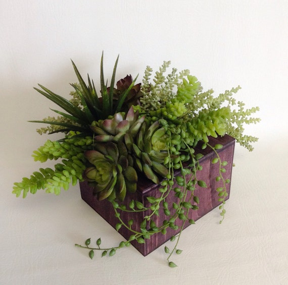 Succulent Arrangement / Wood Block / Faux / Artificial Arrangement
