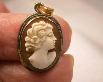 Hand Carved Cameo Pendant Bezel Set,  Genuine Italian Shell Cameo, 1910's, 14K Gold Filled Cameo Pendant