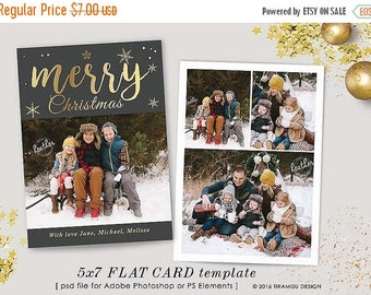 ON SALE Christmas Card Template , 5x7in Holiday Card Template, Adobe Photoshop psd Template, sku xm16-3