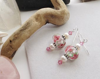 Summer, Spring, Drop, Dangle, Pink, Green, White Lampwork Glass, Pearls, and Swarovski Crystal Beaded Earrings for Weddings, Mother's Day