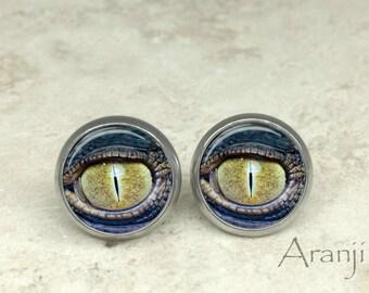 Alligator eye earrings, eye earrings, eyeball earrings, lizard eye earrings, dragon eye earrings, stud earrings, eye jewelry, eyes, AN175E