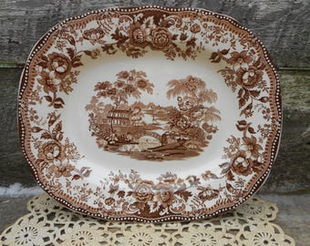 Brown China Platter, Brown and White, Brown Dishes, China Dishes, Old Dishes, Brown Transferware, Clarice Cliff Tonquin, Royal Staffordshire