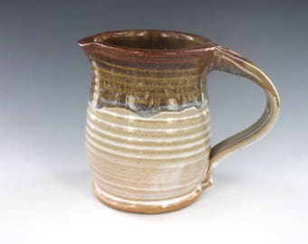 Syrup Pitcher Neutral White and Gold Pottery Creamer Handmade Ready to Ship