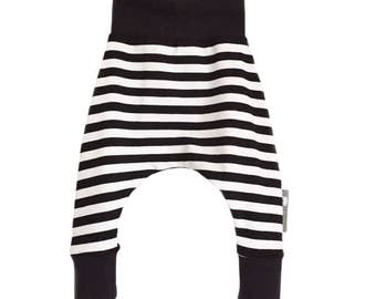 Baby HAREM PANTS Relaxed Trousers in Black & White Stripes - A Gift Idea for Modern Babies