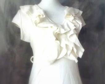 vanilla stretch dress with ruffles- wedding clothing