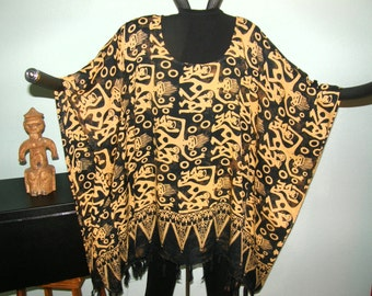 Ethnic Print Aztec Inca Indonesian Tunic Poncho Dress - One size to Plus Size - Gold on Black