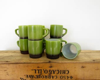 Green and Black Fire King Mugs- Set of 10