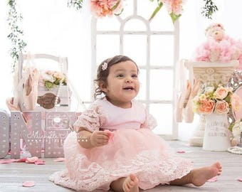 Pink lace Pageant Dress   Flower Girl Dress   Wedding Dress   Bridal Dress   Easter Dress   Lace Dress   Pink Dress   White Dress   Toddler