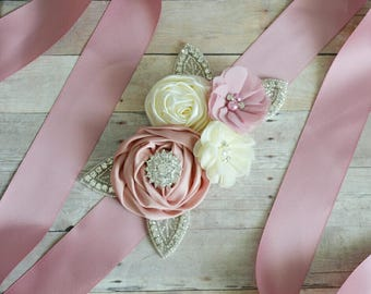Wedding sash, Flower Girl Sash, Ribbon Sash, Bridal Sash, Wedding Shower Sash, Bridesmaid Sash Bachelorette ivory dusty rose mauve cream