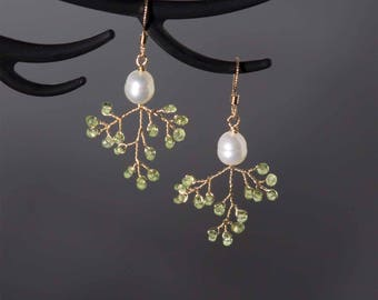 Pearl tree earrings | 14k gold filled wire | green peridot stone |  freshwater pearl | Art Nouveau jewelry | Woodland jewelry