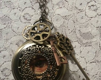 Steampunk all seeing stopwatch pendant