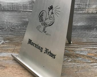 Vintage Aluminum Tabletop Rooster Morning News Newspaper Stand Plus Wife's Side Farmhouse Country Decor His Hers Humor