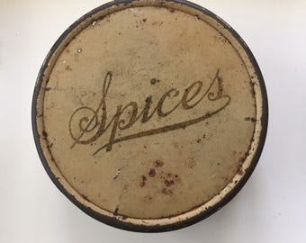 Vintage Spice Tin Set 1920's Kitchen Storage