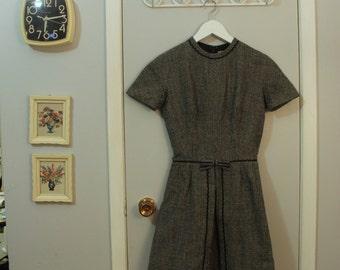 1950s/1960s grey tweed dress with rick rack trim