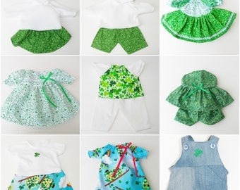 bitty baby clothes matching, 15 inch girl, boy, twin, 10 CHOICES, Greenery, Irish, adorabledolldesigns, pants skirt dress green