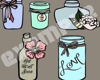 Mason Jar and Bottles SVG Cut File