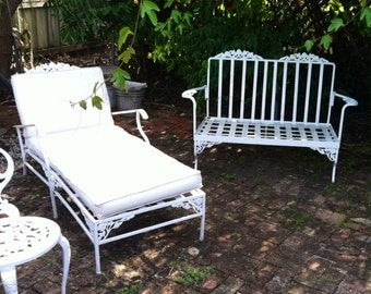 Vintage metal outdoor furniture paired seating garden patio sets Woodard Salterini loveseat & chaise aluminum frame floral cornice trim