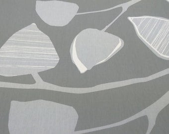 Tablecloth beige grey white large leaves Botanical Modern Scandinavian Design , napkins , runner , curtains , pillow covers , great GIFT