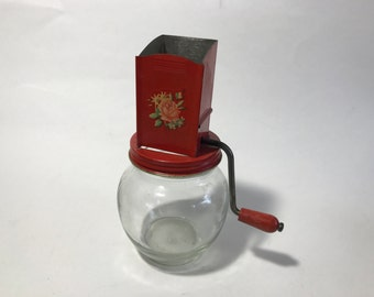 Vintage Nut Grinder and Glass Jar Red Wood Handle Anchor Hocking