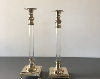 vintage brass lucite candlesticks pair sleek glam hollywood regency taper