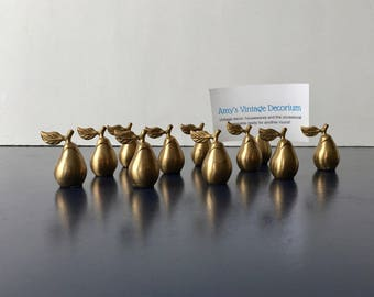 vintage brass place card holders pear fruit shaped set of 11