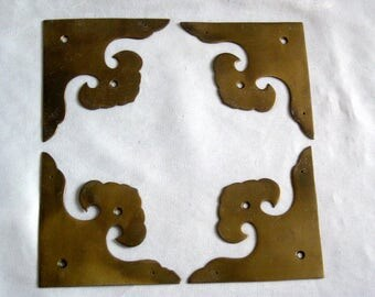 Set of 4 Decorative Brass Metal Corners Flat Vintage Cabinet Chest Trunk Hardware 3.5""