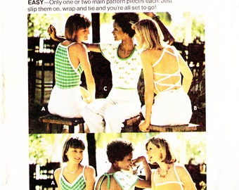 Butterick 3737 Misses' Retro 1970s Open Back Wrap Tops Sewing Pattern