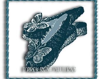 Crochet Pattern Instant Digital Pattern Vintage 1940s Women's Butterfly Slippers #9679 PDF