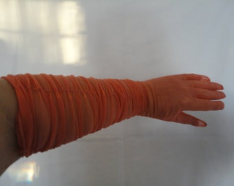 Vintage Salmon Pink Sheer Nylon Ruched Over Elbow Length Gloves - 1950s - Size 6.5-7 - Wedding, Prom, Bridal, Burlesque