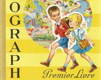 French vintage book, Mon premier livre de géographie, children book, biology, anatomy, science,school