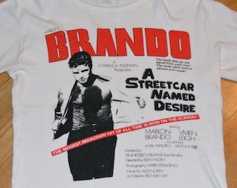 1970's MARLON BRANDO / A StREETCAR NaMED DeSIRE vintage original movie t-shirt tshirt (S/M) Small 70s 80s Warner Bros. Tennessee Williams