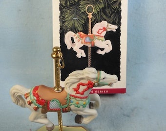 Vintage-Tobin Fraley Carousel Horse-Christmas Ornament-Hallmark 1993-With Box