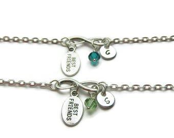 2 Best Friends Bracelets, Personalized Best Friends Bracelets, Bracelets For Best Friends, Swarovski Birthstone Bracelets, Initial Bracelets