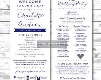 wedding program, ceremony, fun, unique, modern, reception, timeline, invitation, simple, card, wedding party, PRINTABLE or PRINTED PROGRAMS