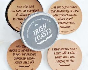 Irish Wedding Gift –Leather Coasters – Irish Toasts – Laser Engraved