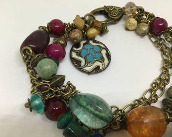 Boho Bracelet adorned with Aqua Czech glass Beads.