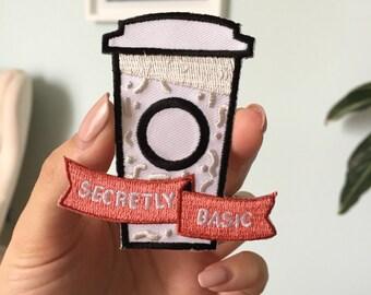 Secretly Basic - iron on funny patch