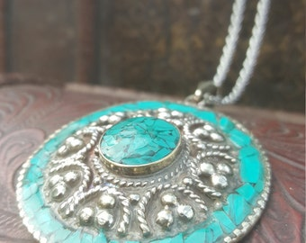 Turquoise Ascension Pendant Tibetan Tribal Gemstone Jewelry with Chain