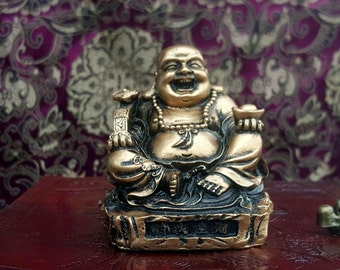 Gold Laughing Buddha Resin Figurine