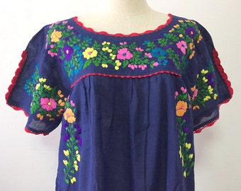 Embroidered Mexican Dress Handmade Cotton Tunic In Blue, Boho Dress