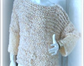 SWEATER WOMANS KNITTED Oversized Natural Color  With Copper Flecks Loose Bulky Chunky