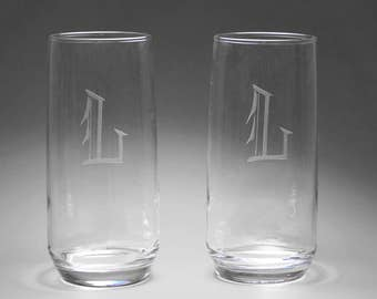 "Vintage Clear Glass Etched Monogrammed Letter ""L"" Tall Drinking Glasses, Tumblers,  Set of 2"